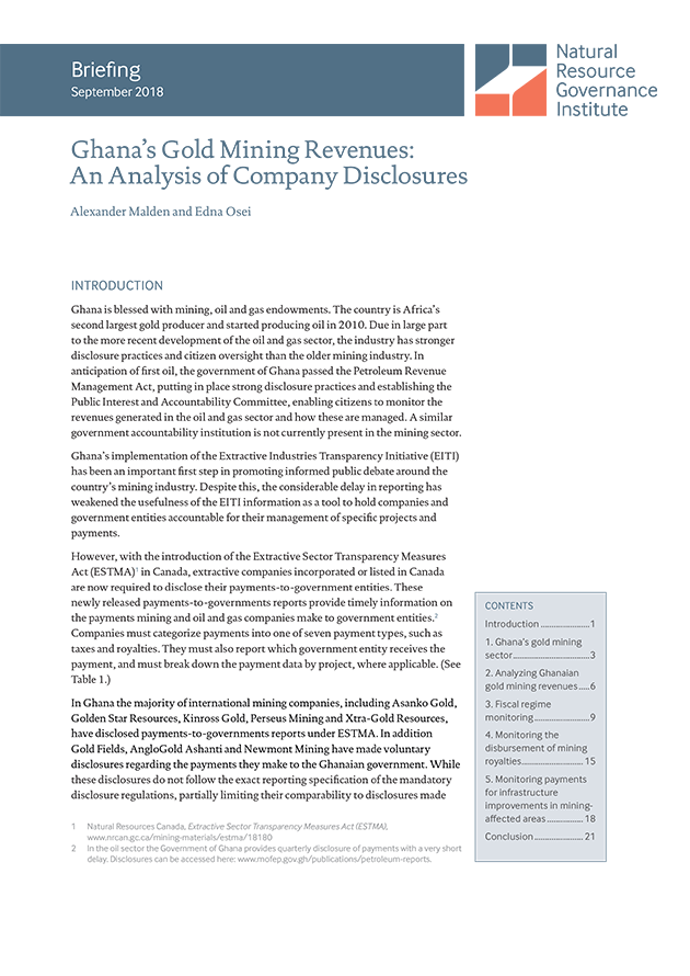 resourcegovernance.org - Ghana's Gold Mining Revenues: An Analysis of Company Disclosures