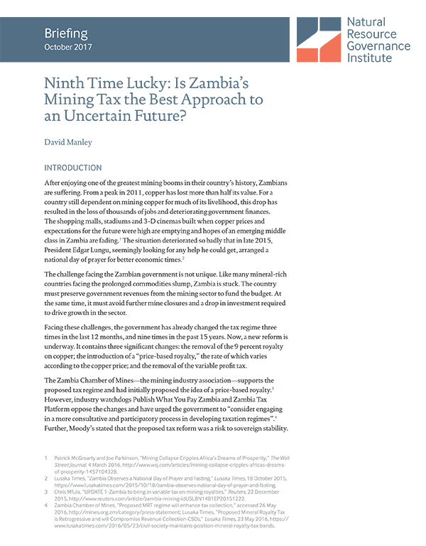 Ninth Time Lucky: Is Zambia's Mining Tax the Best Approach