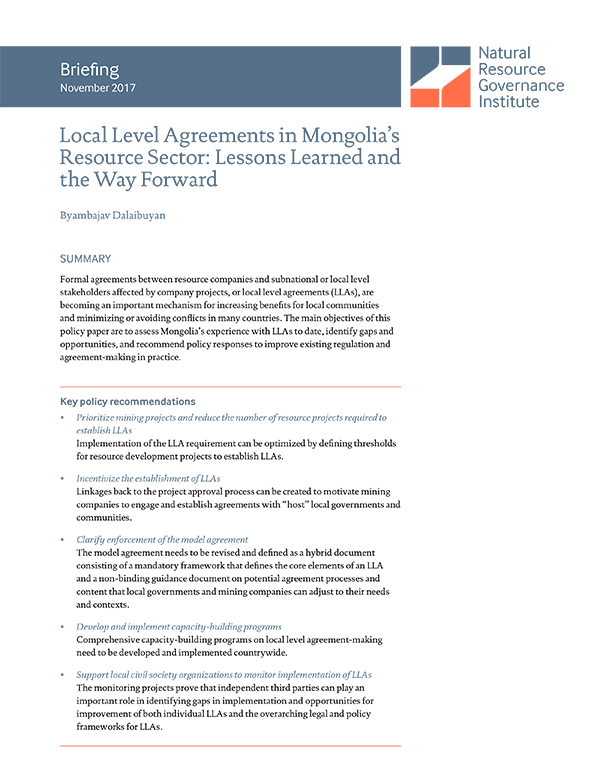 Local Level Agreements In Mongolias Resource Sector Lessons